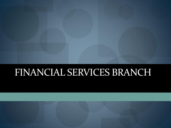 FINANCIAL SERVICES BRANCH