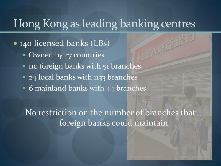 Hong Kong as leading banking centres