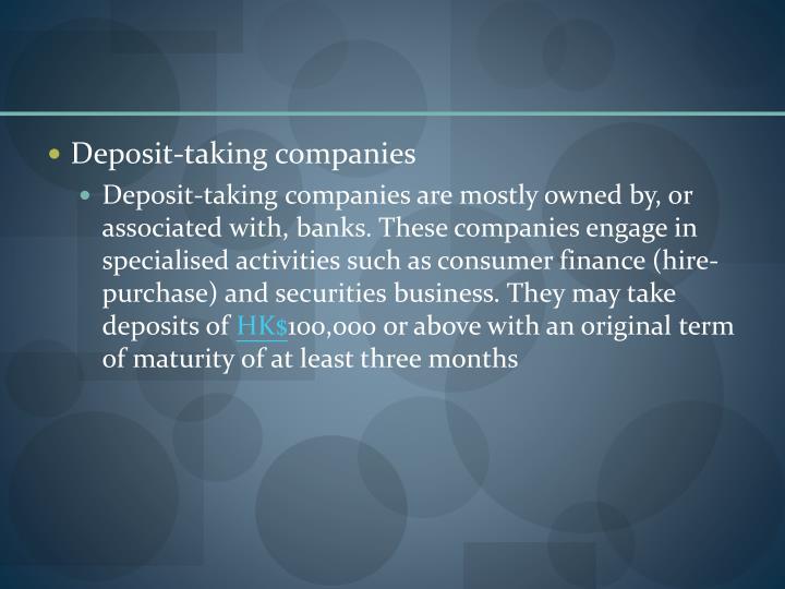 Deposit-taking companies