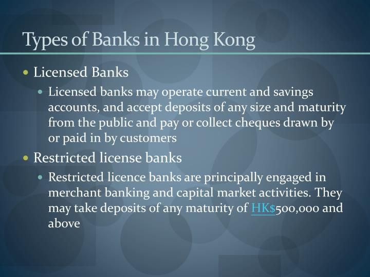 Types of Banks in Hong Kong