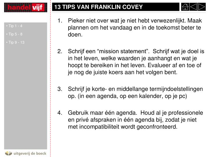 13 tips van franklin covey