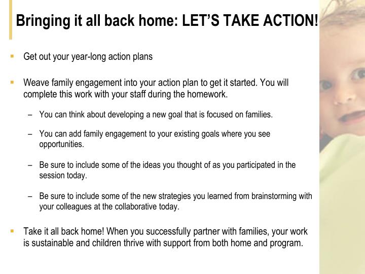 Bringing it all back home: LET'S TAKE ACTION!