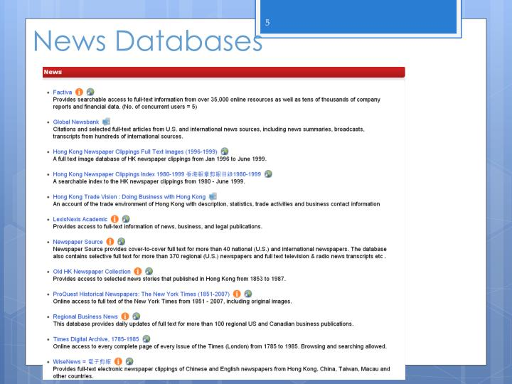 News Databases