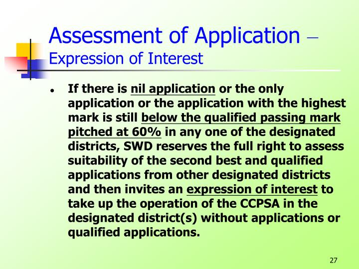 Assessment of Application