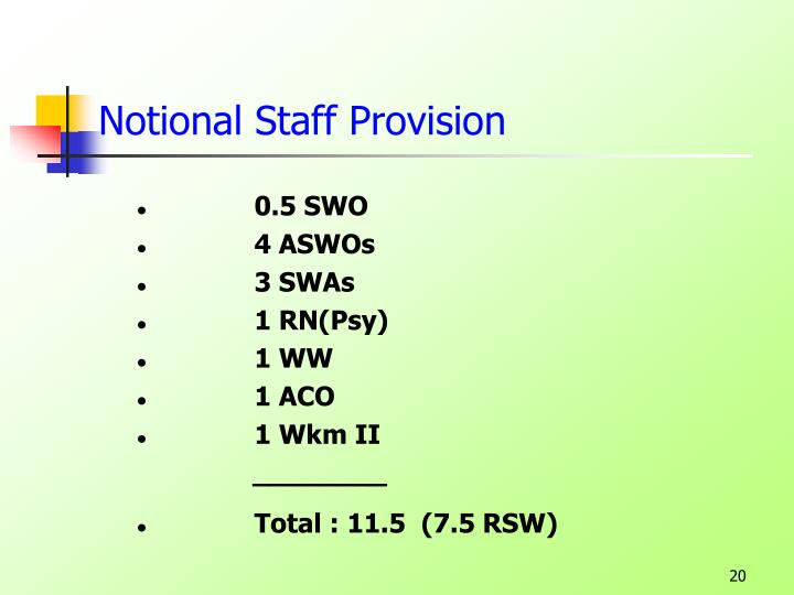 Notional Staff Provision