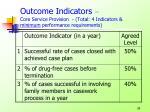 outcome indicators core service provision total 4 indicators minimum performance requirements