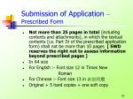 submission of application prescribed form