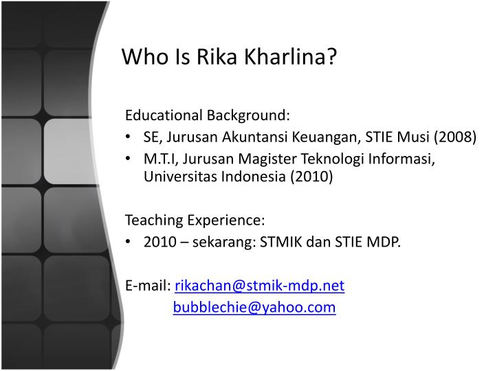 Who Is Rika Kharlina?