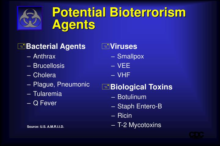 bioterrorism various biological agents
