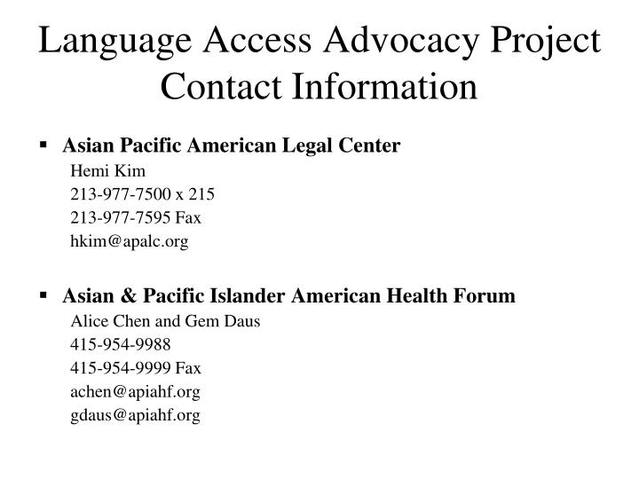 Language Access Advocacy Project Contact Information