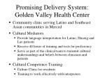promising delivery system golden valley health center