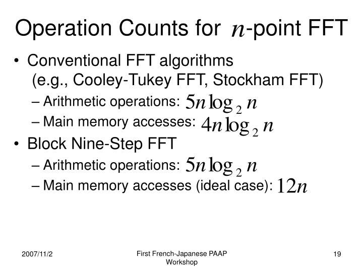 Operation Counts for    -point FFT