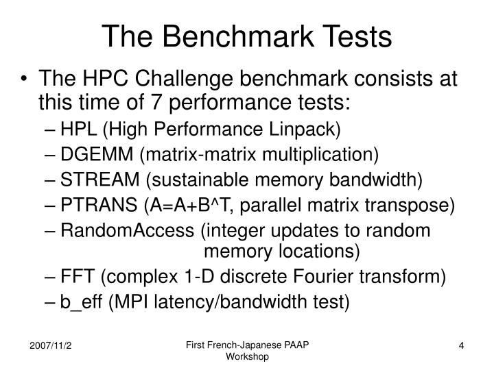 The Benchmark Tests