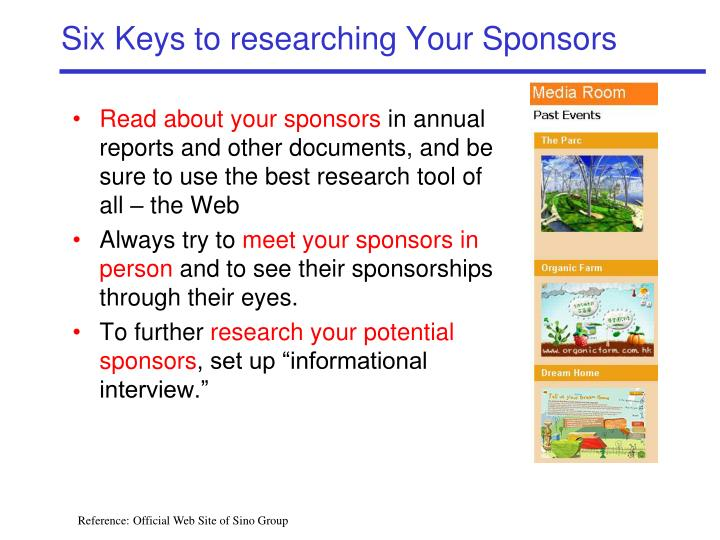 Six Keys to researching Your Sponsors
