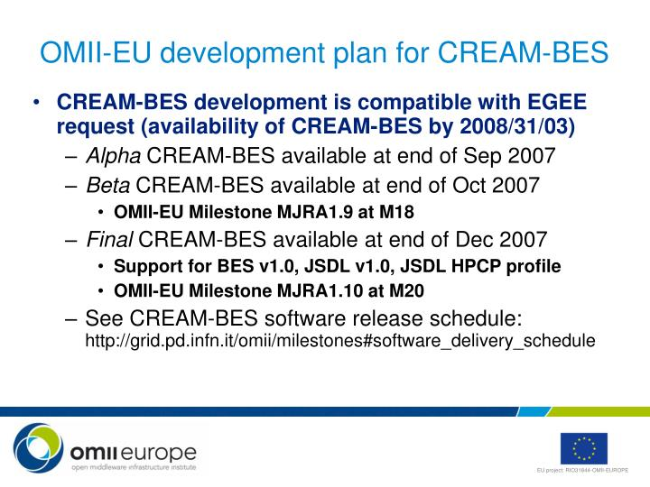 OMII-EU development plan for CREAM-BES