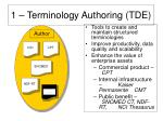 1 terminology authoring tde