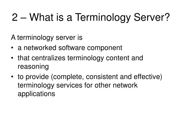 2 – What is a Terminology Server?