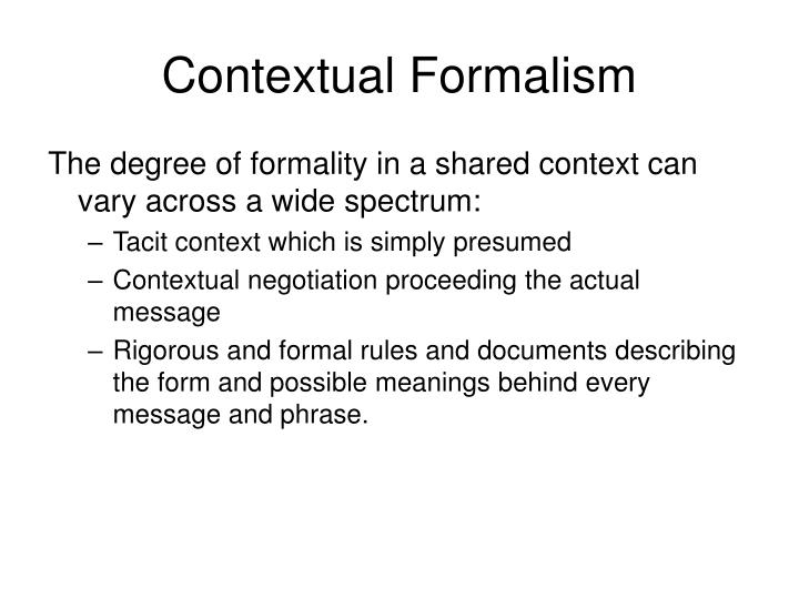 Contextual Formalism
