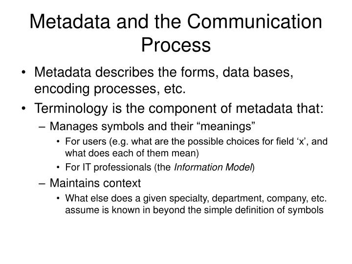 Metadata and the Communication Process