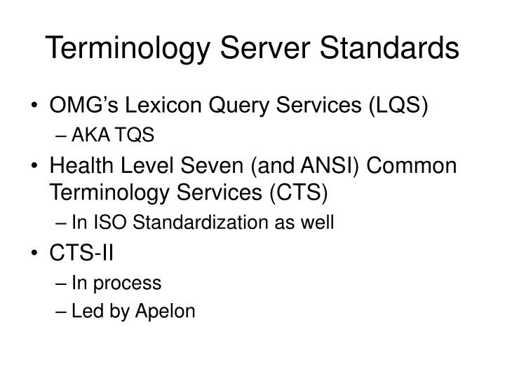 Terminology Server Standards