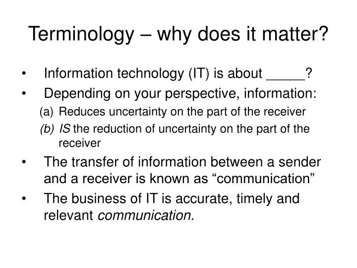 Terminology why does it matter