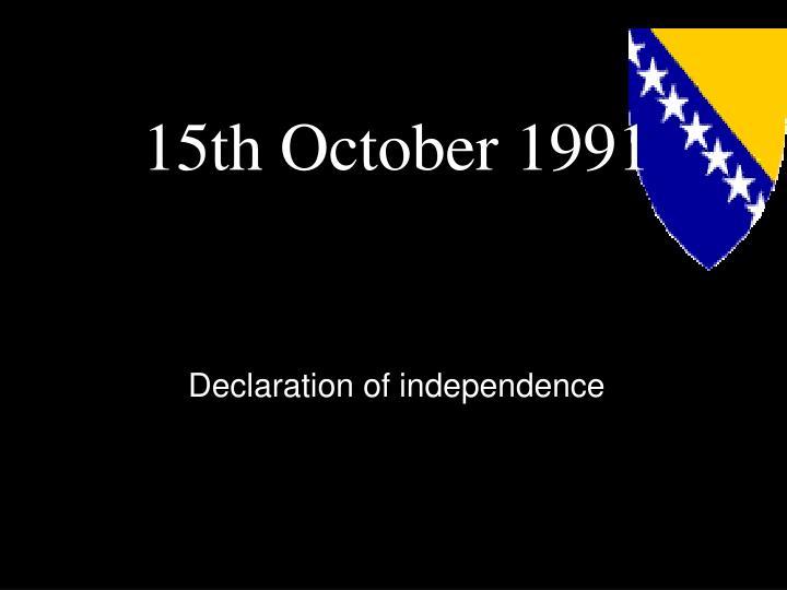 15th October 1991