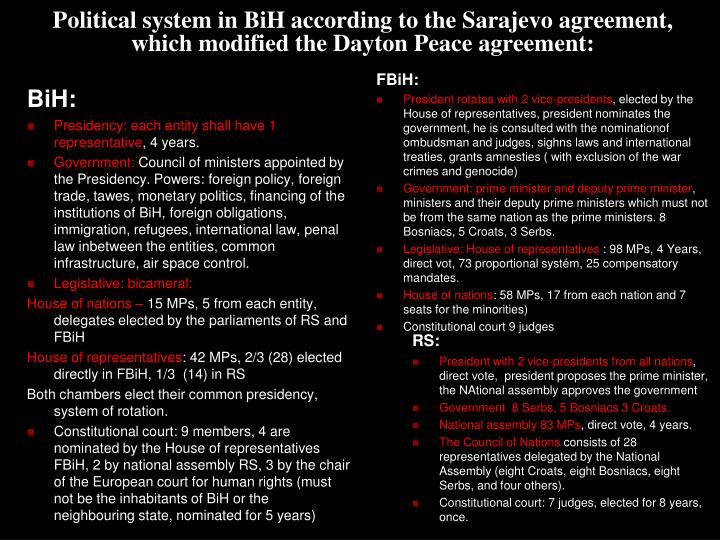 Political system in BiH according to the Sarajevo agreement, which modified the Dayton Peace agreement: