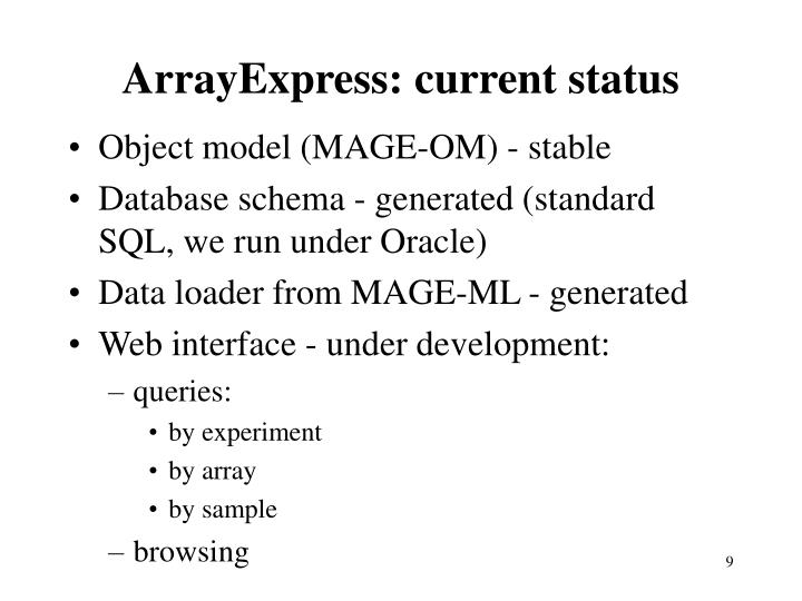 ArrayExpress: current status
