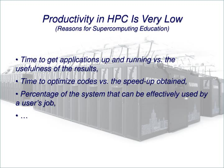 Productivity in HPC Is Very Low