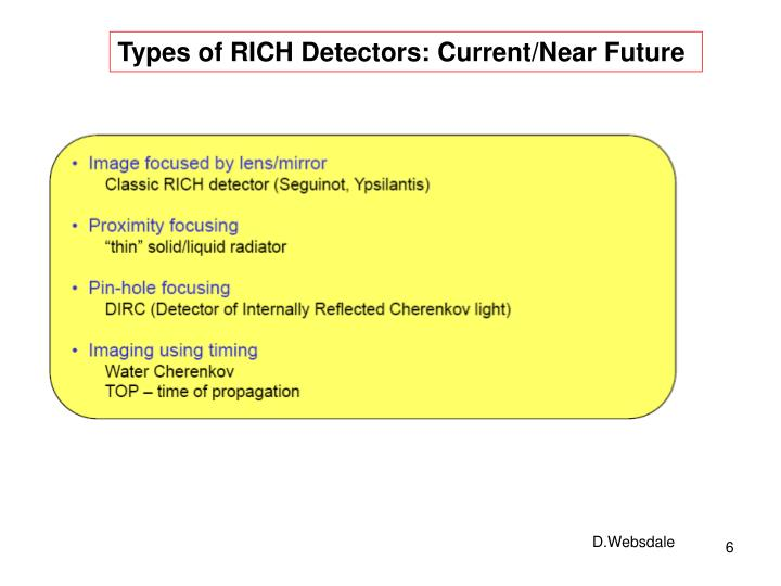 Types of RICH Detectors: Current/Near Future