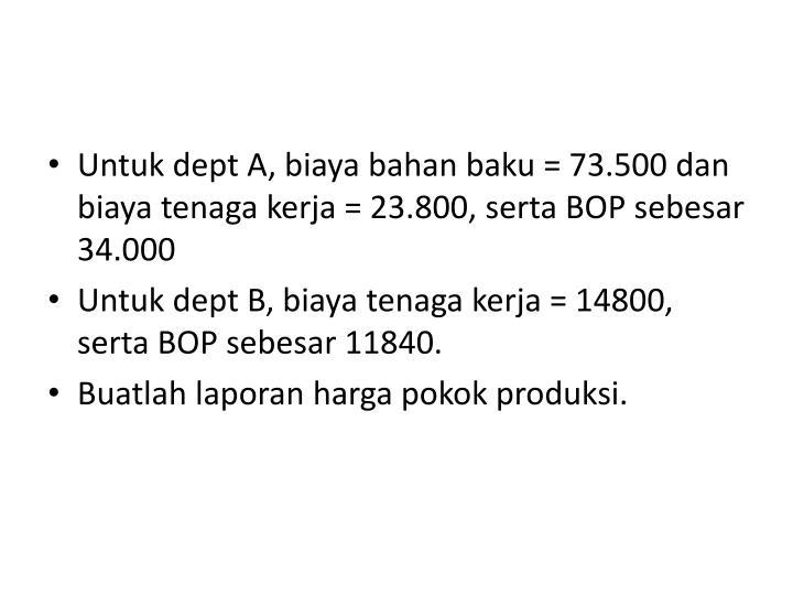 Untuk dept A, biaya bahan baku = 73.500 dan biaya tenaga kerja = 23.800, serta BOP sebesar 34.000