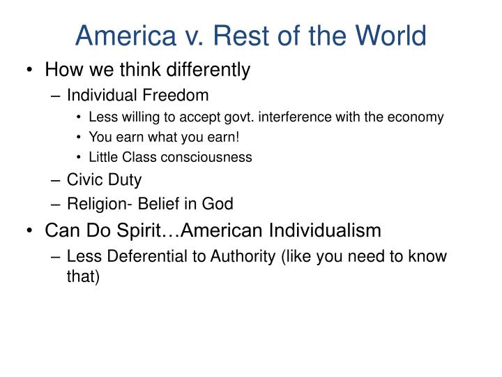 America v. Rest of the World