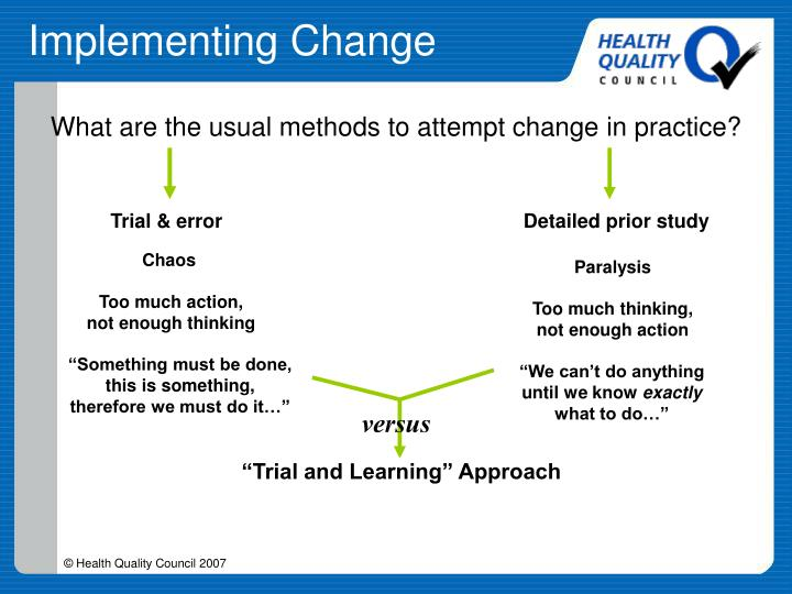 What are the usual methods to attempt change in practice?