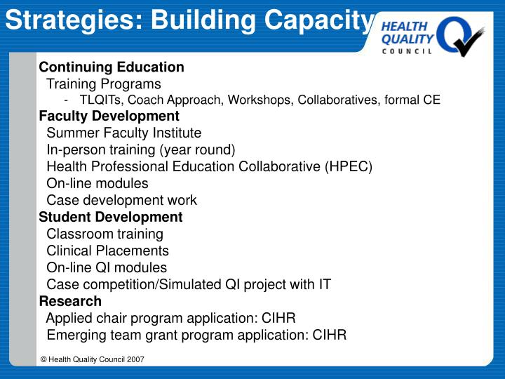 Strategies: Building Capacity