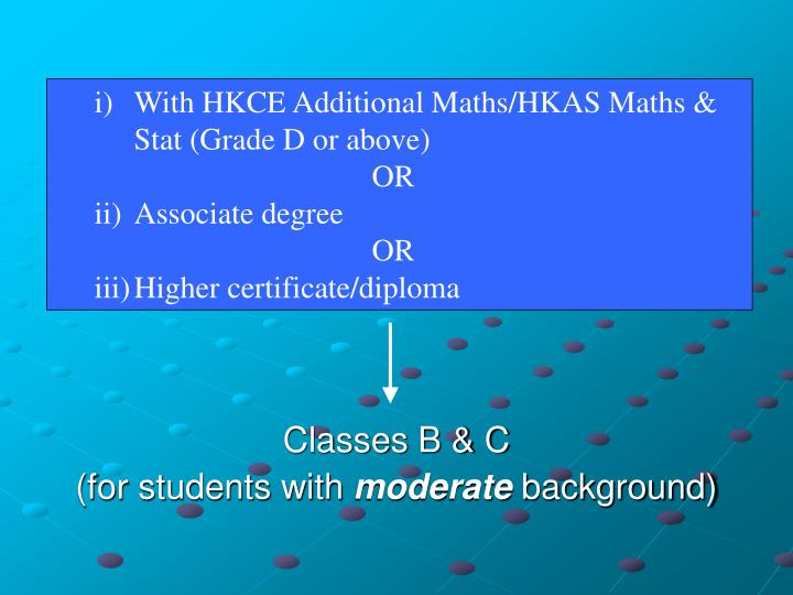 )	With HKCE Additional Maths/HKAS Maths &   	Stat (Grade D or above)