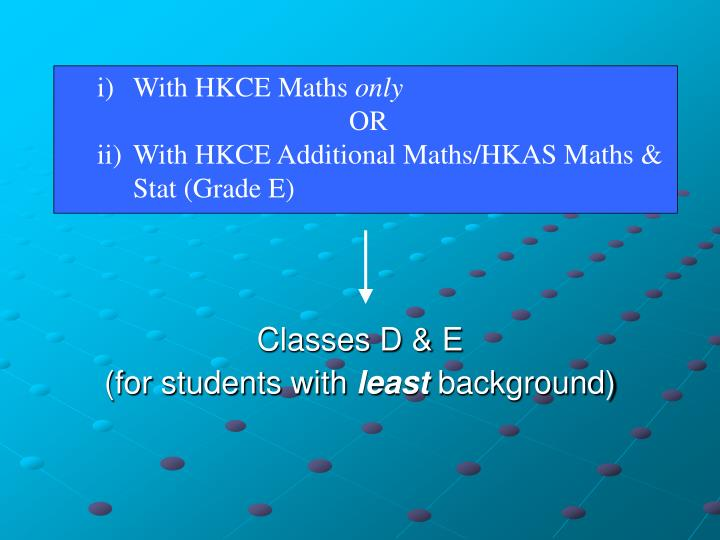 )	With HKCE Maths