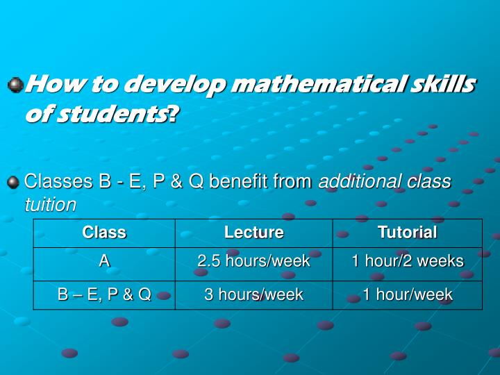 How to develop mathematical skills of students