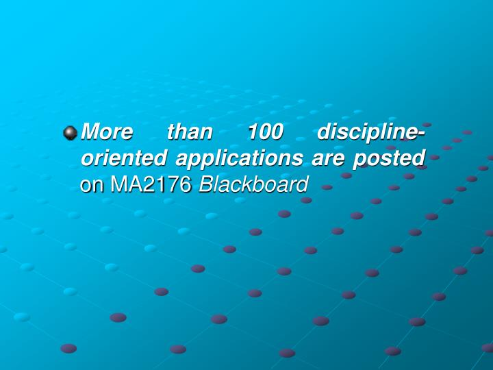 More than 100 discipline-oriented applications are posted