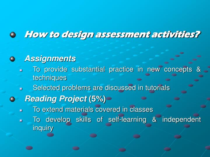 How to design assessment activities?