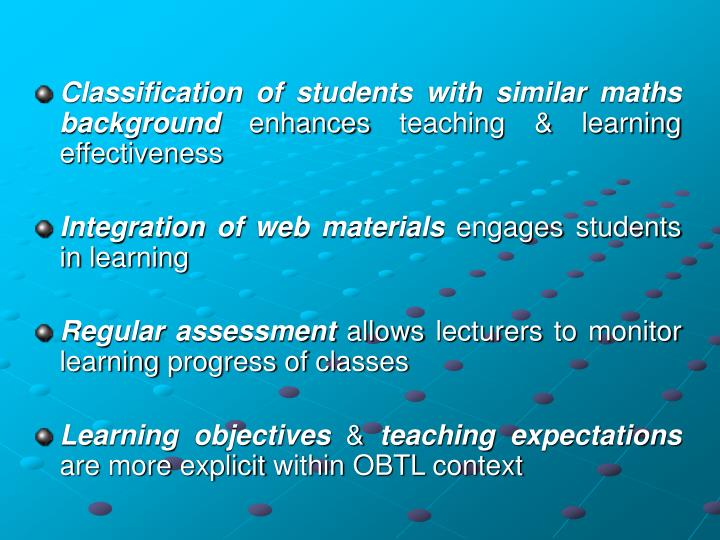 Classification of students with similar maths background