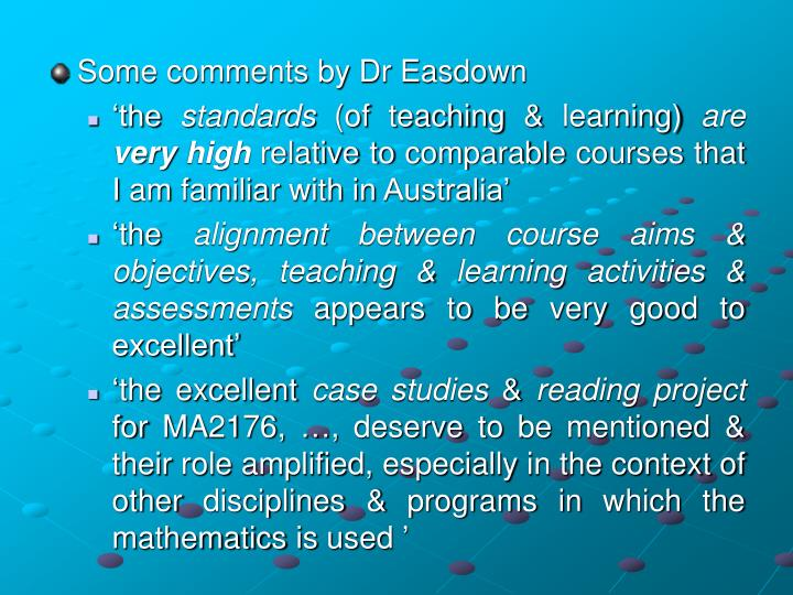 Some comments by Dr Easdown