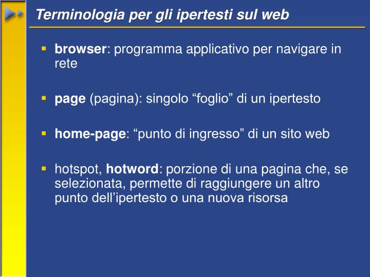 Terminologia per gli ipertesti sul web