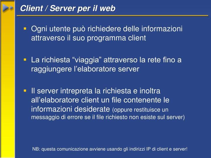 Client / Server per il web