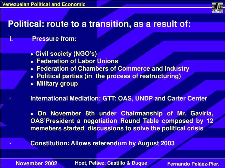 Political: route to a transition, as a result of: