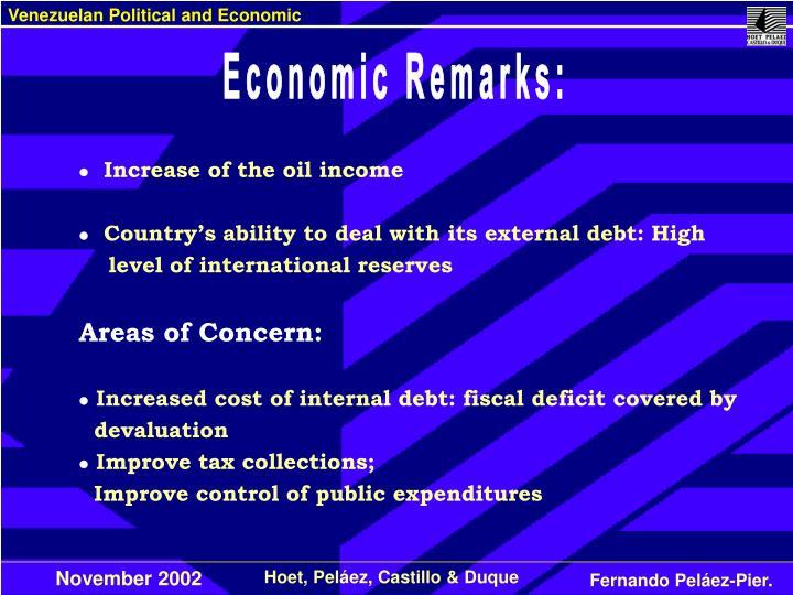 Economic Remarks: