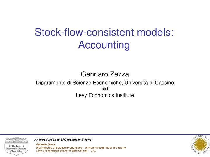 Stock flow consistent models accounting