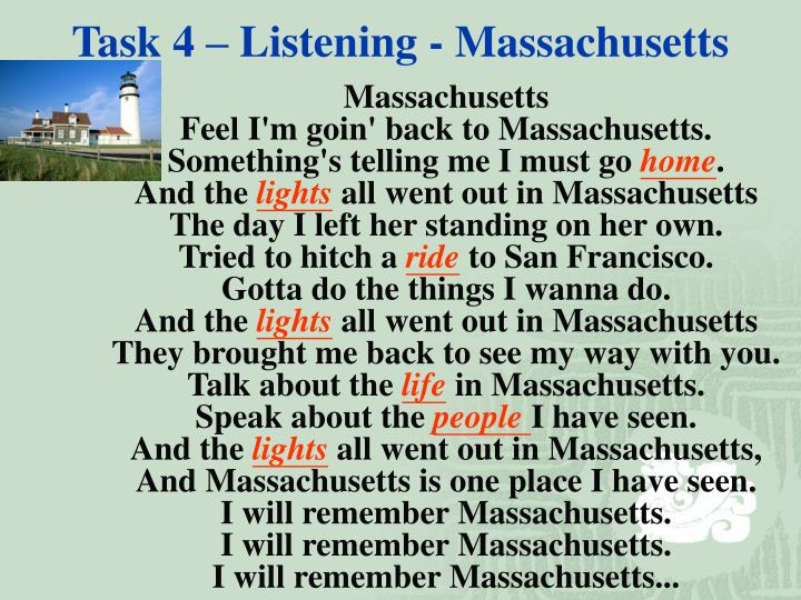 Task 4 – Listening - Massachusetts