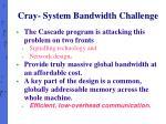 cray system bandwidth challenge