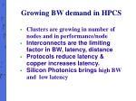 growing bw demand in hpcs1