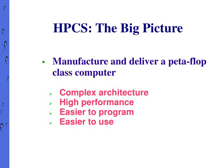 HPCS: The Big Picture